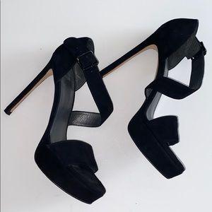 Stuart Weitzman Black Suede Wrap Platform Heels